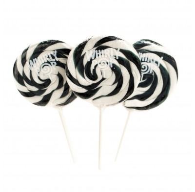 WHIRLY POP LOLLIPOPS<BR> 1.5oz. 24ct. BLACK & WHITE