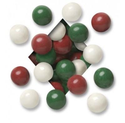 MALTED MILK BALLS<BR>DARK CHOCOLATE<BR>CHRISTMAS RED, GREEN & WHITE