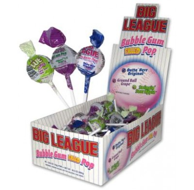 BIG LEAGUE BUBBLE GUM FILLED LOLLIPOPS 48ct.