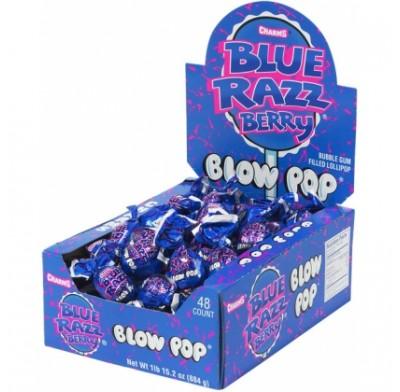 Charms Blow Pop Lollipop Blue Razzberry 48 Count