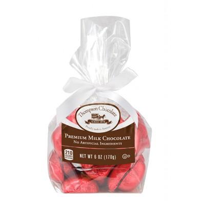 *Thompson Red Foil Milk Chocolate Hearts 6oz. Cello Bag 6 Count
