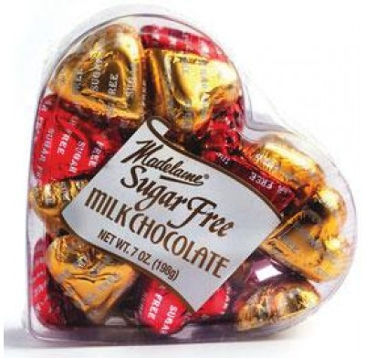 Madelaine Sugarfree Choc. Hearts 7oz Acetate Box