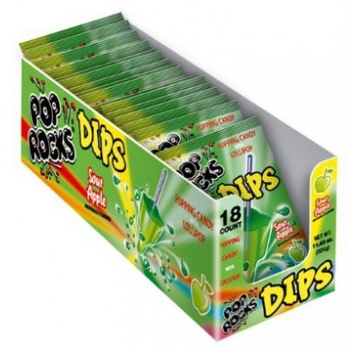 POP ROCKS DIPS SOUR APPLE 18ct.