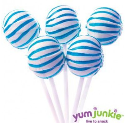 SASSY SPHERES<BR>STRIPED LOLLIPOPS<BR>BLUE & WHITE 100ct.