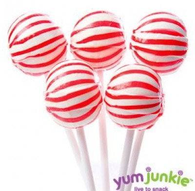 SASSY SPHERES<BR>STRIPED LOLLIPOPS<BR>RED & WHITE 100ct.