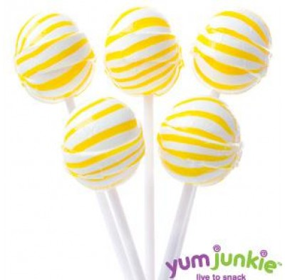 SASSY SPHERES<BR>STRIPED LOLLIPOPS<BR>YELLOW & WHITE 100ct.