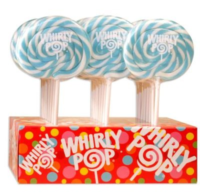 WHIRLY POP LOLLIPOPS<BR> 1.5oz. 24ct. LT. BLUE & WHITE