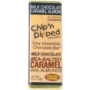 Chip 'n Dipped Milk Chocolate Sea Salt Caramel with Almonds 3.5oz. Bar