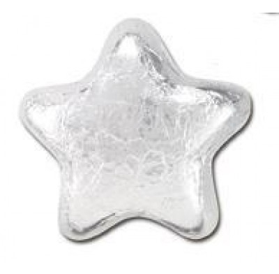 MILK CHOCOLATE STARS<BR>SILVER FOILED