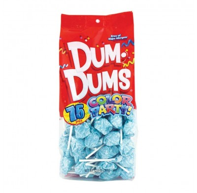 Dum Dums Light Blue- Blue Raspberry Lollipops 75ct.