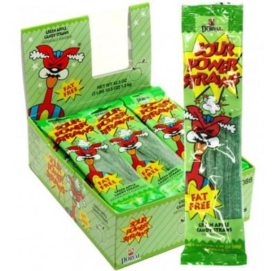Sour Power Straws Green Apple 1.75oz 24ct